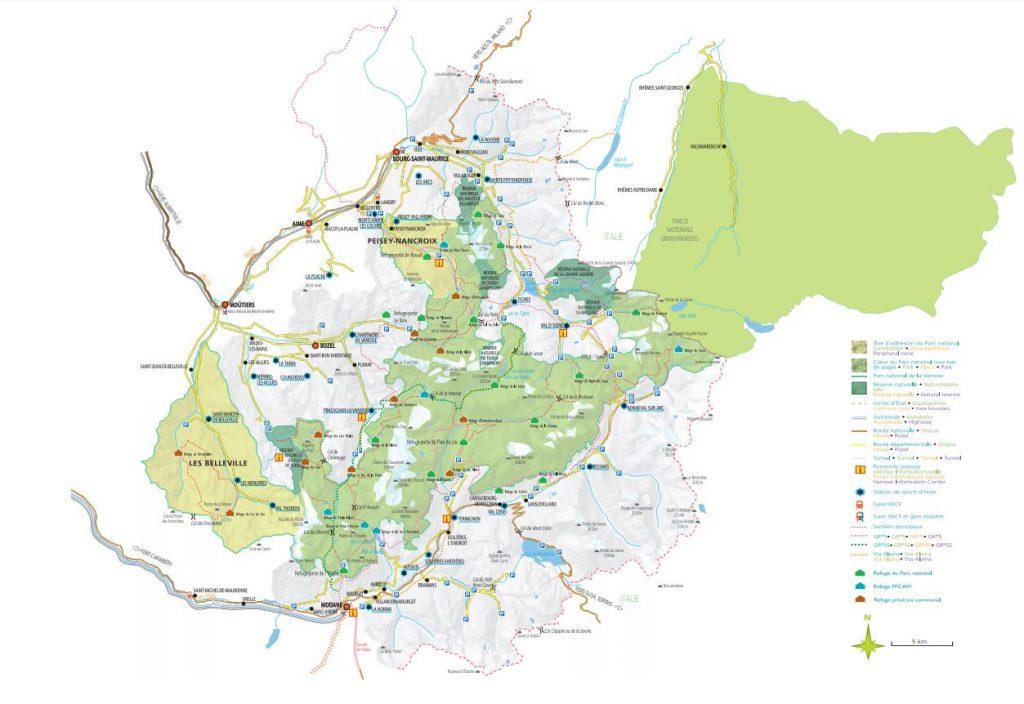 plan du Parc national de la Vanoise